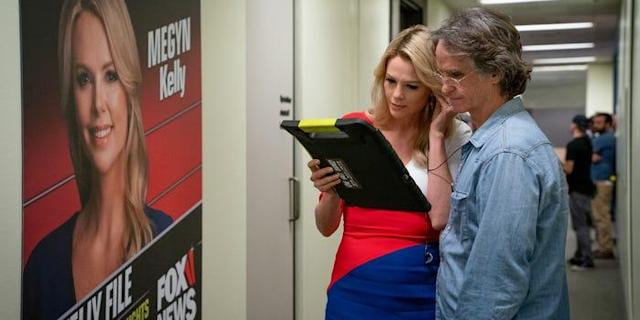 Charlize Theron and Jay Roach on the set of Bombshell. (Lionsgate)