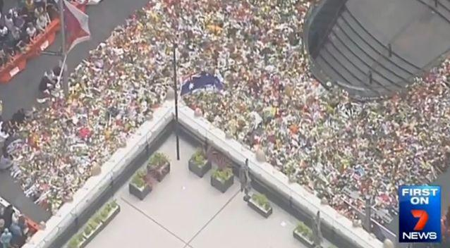 The sea of flowers left in Martin Place after the siege. Photo: 7 News