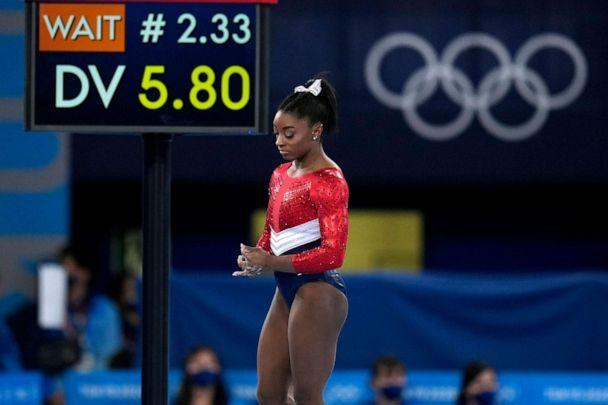 PHOTO: Simone Biles, of the United States, waits to perform on the vault during the artistic gymnastics women's final at the 2020 Summer Olympics, Tuesday, July 27, 2021, in Tokyo. (Gregory Bull/AP)