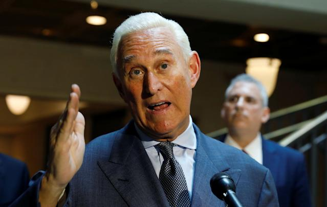 Roger Stone speaks to reporters after appearing before a closed House Intelligence Committee hearing on Sept. 26, 2017. (Photo: Kevin Lamarque/Reuters)