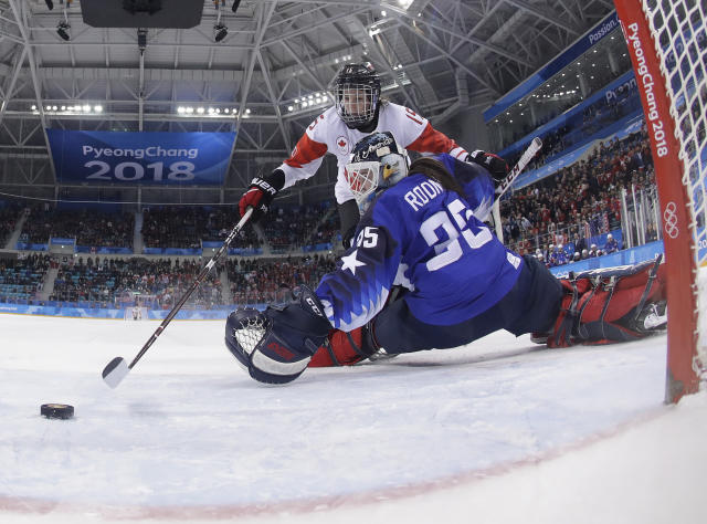 Melodie Daoust (15), of Canada, scores a goal against goalie Maddie Rooney (35), of the United States, in the penalty shootout during the women's gold medal hockey game at the 2018 Winter Olympics in Gangneung, South Korea, Thursday, Feb. 22, 2018. (AP Photo/Frank Franklin II, Pool)