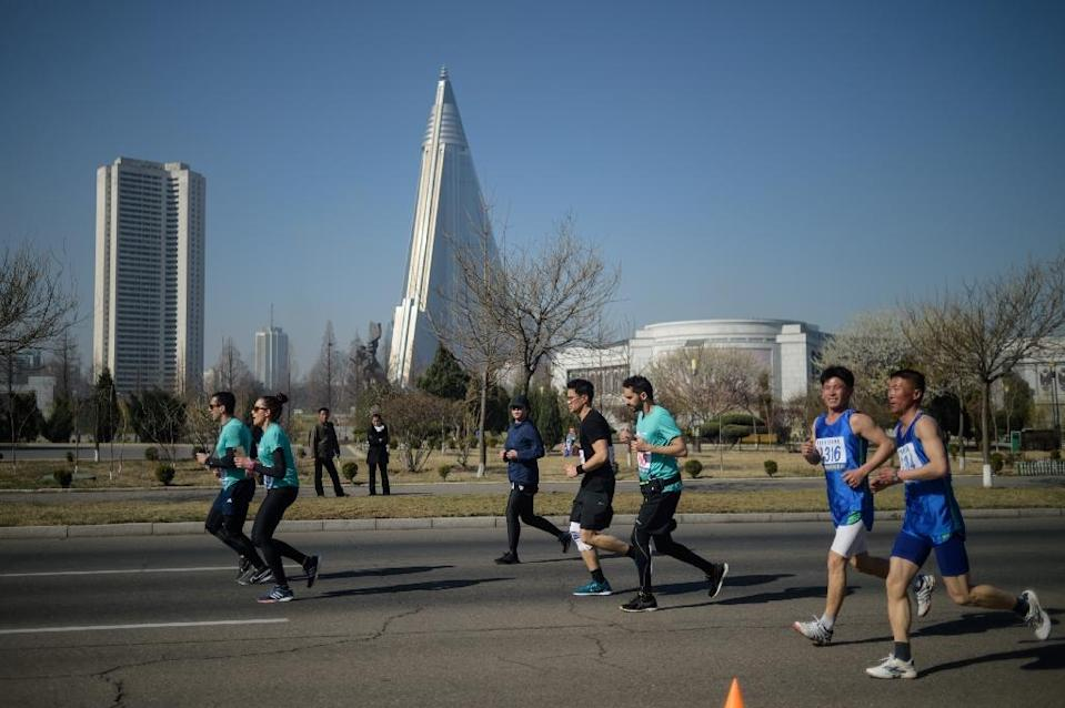 The marathon in Pyongyang offers foreigners the chance to run through the streets of the tightly controlled city (AFP Photo/KIM Won Jin )