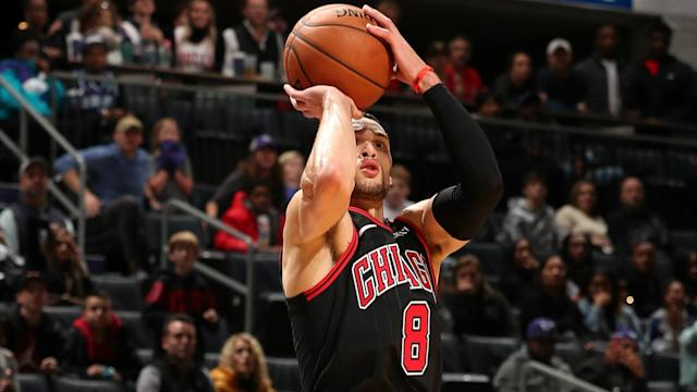 Zach LaVine, who finished with a career-high 49 points, nailed the game-winning three with 0.8 seconds remaining in Charlotte on Saturday.