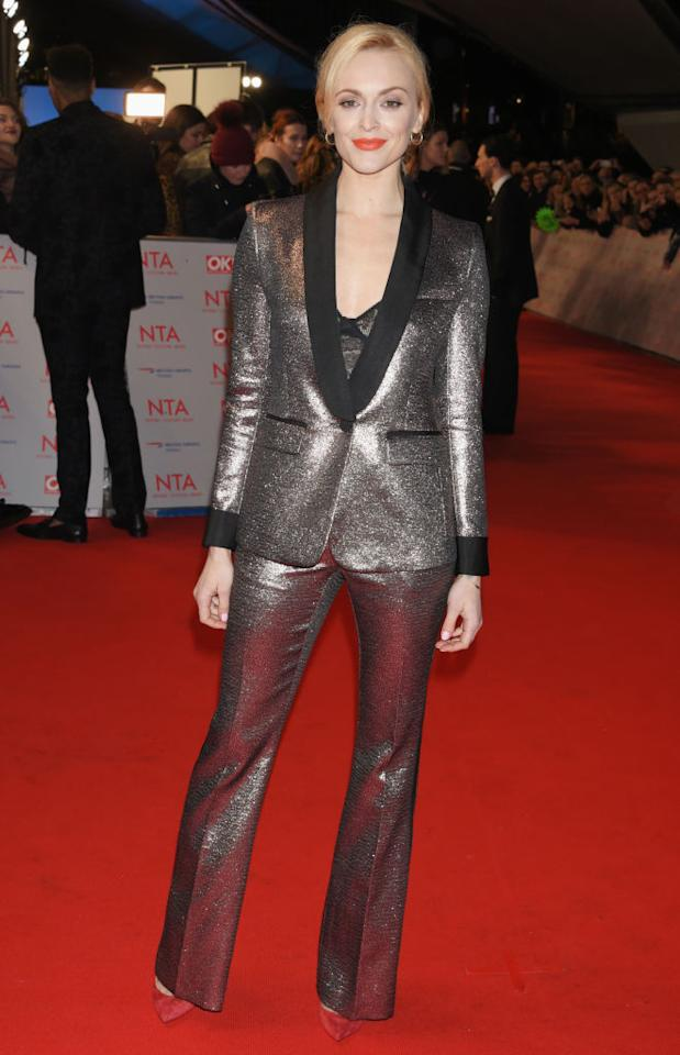 <p>Fearne Cotton demonstrated how to work this seasons '70s trend in a metallic two-piece flared suit. We. Need. It. Now. <em>[Photo: Getty]</em> </p>