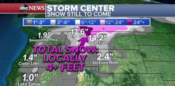 PHOTO: Snowfall totals of close to 20 inches are still in the forecast for parts of northern Montana. (ABC News)