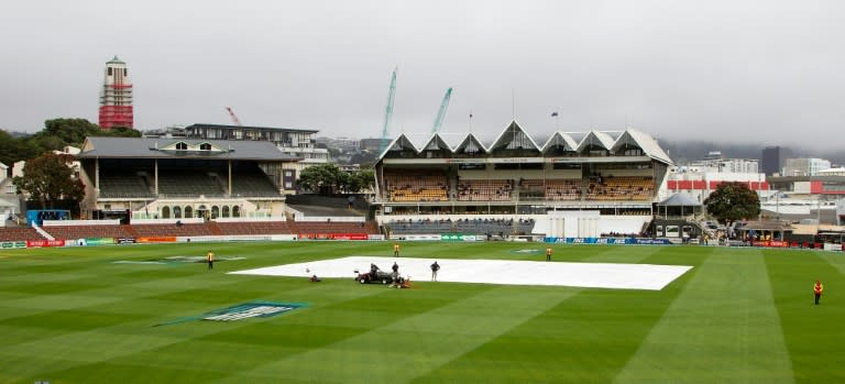 The covers protect the wicket from rain at the Basin Reserve in Wellington