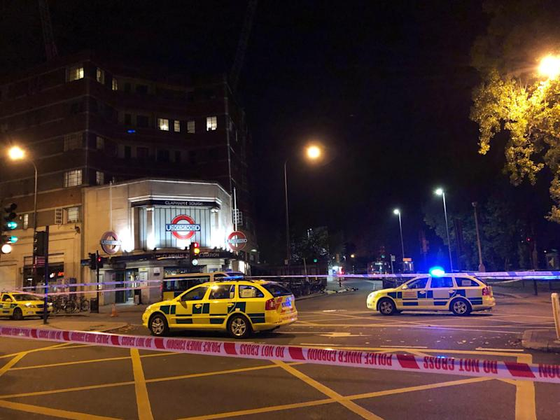 Police activity outside Clapham South tube station after Malcolm Mide-Madariola was fatally stabbed on Friday 2 November: David Wilcock/PA Wire
