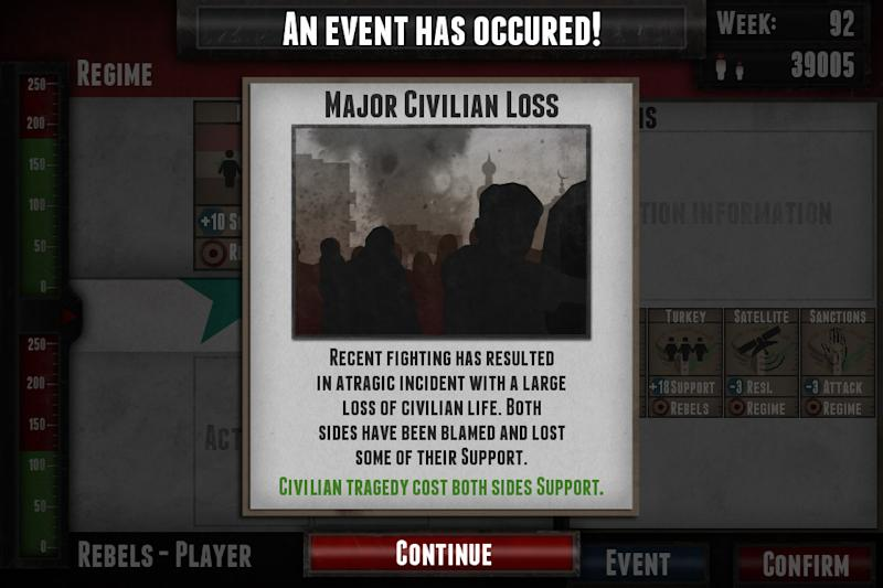 "This undated image provided by Auroch Digital Ltd. shows the video game ""Endgame: Syria."" The new video game based on Syria's civil war seeks to illustrate civilian loss due to heavy fighting between Syrian rebels and government forces. The British developer of the video game says he wants to educate people about the conflict, but reactions have been mixed. Apple won't distribute it, some players find it insulting and one Syrian fan has suggested ways to make it more realistic. (AP Photo/Auroch Digital Ltd.)"