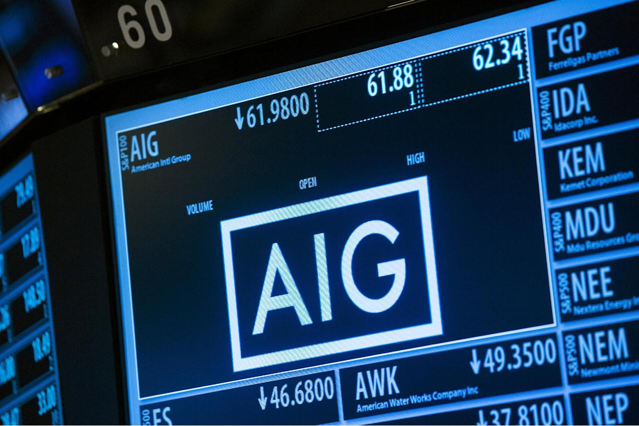 FILE PHOTO - Current information related to insurance company AIG is displayed above the floor of the New York Stock Exchange shortly after the opening bell in New York, U.S. on June 17, 2015. REUTERS/Lucas Jackson/File Photo