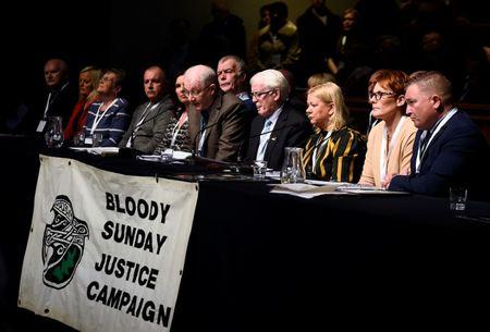 Families of the victims give a news conference after the announcement of the decision whether to charge soldiers involved in the Bloody Sunday events, in Londonderry, Northern Ireland March 14, 2019. REUTERS/Clodagh Kilcoyne