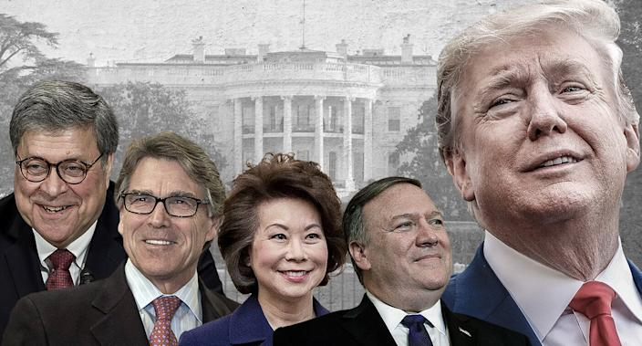 From left: Attorney General William Barr, Energy Secretary Rick Perry, Transportation Secretary Elaine Chao, Secretary of State Mike Pompeo and President Trump. (Photo illustration: Yahoo News; photos: AP, Getty Images)