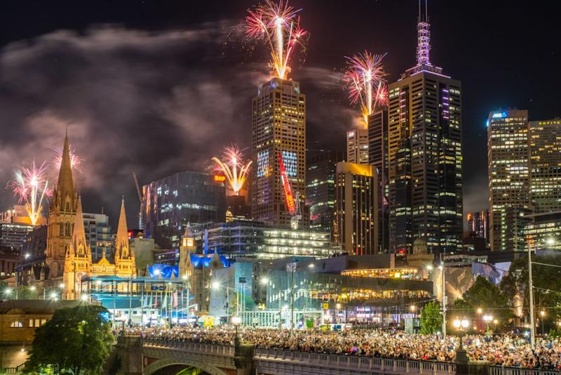 Fireworks erupt over the Melbourne central business district during New Year's Eve celebrations on January 01, 2020 in Melbourne, Australia. | Asanka Ratnayake—Getty Images