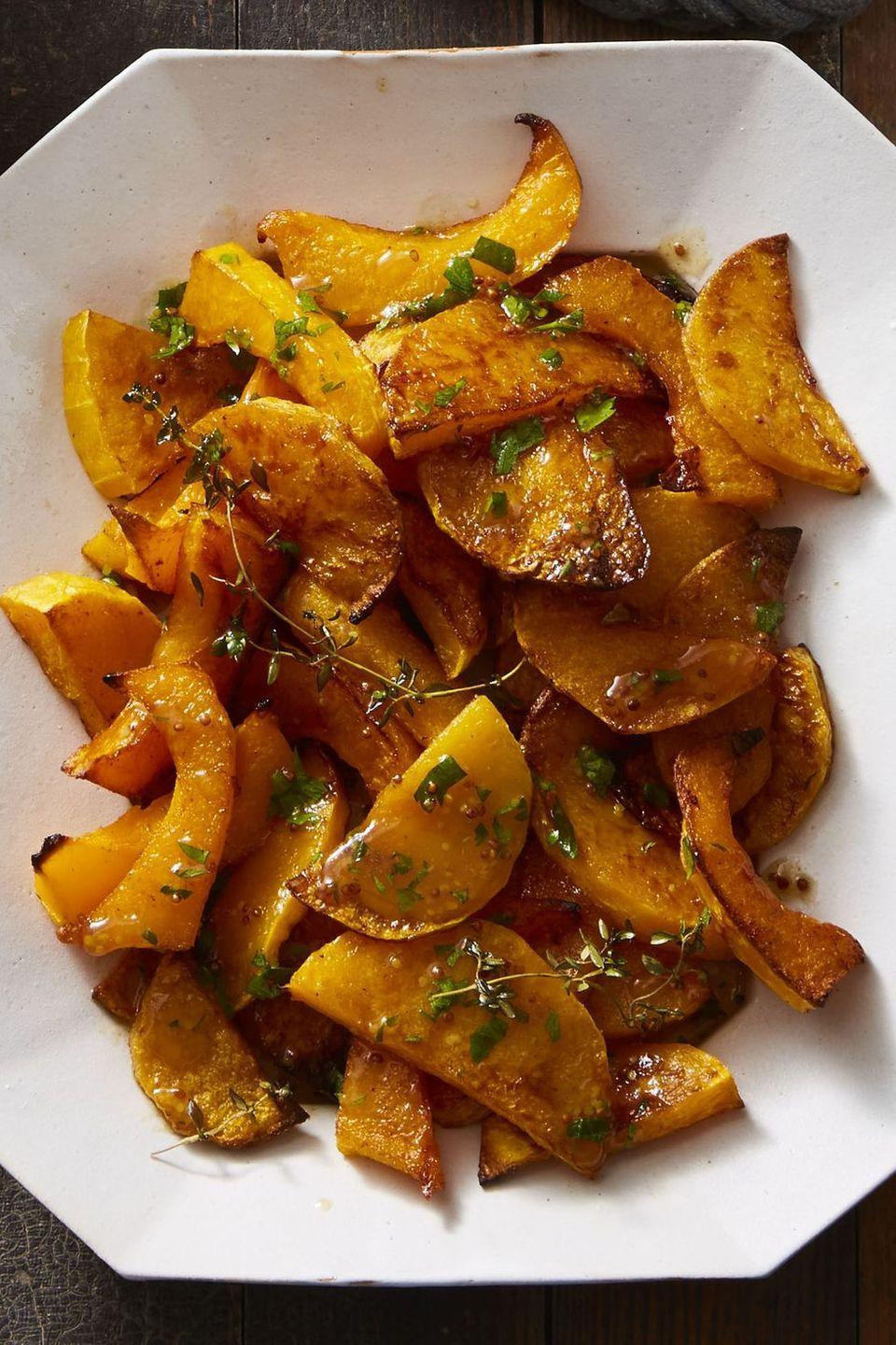 """<p>Apple cider, red wine vinegar, and whole-grain mustard make a bright, punchy vinaigrette for sweet butternut squash.</p><p><em><a href=""""https://www.goodhousekeeping.com/food-recipes/easy/a46622/spice-roasted-butternut-squash-with-cider-vinaigrette-recipe/"""" rel=""""nofollow noopener"""" target=""""_blank"""" data-ylk=""""slk:Get the recipe for Spice-Roasted Butternut Squash with Cider Vinaigrette »"""" class=""""link rapid-noclick-resp"""">Get the recipe for Spice-Roasted Butternut Squash with Cider Vinaigrette »</a></em></p><p><strong>RELATED: </strong><a href=""""https://www.goodhousekeeping.com/food-recipes/g3658/best-apple-recipes/"""" rel=""""nofollow noopener"""" target=""""_blank"""" data-ylk=""""slk:The 80 Tastiest Apple Recipes to Try for Fall"""" class=""""link rapid-noclick-resp"""">The 80 Tastiest Apple Recipes to Try for Fall</a><br></p>"""