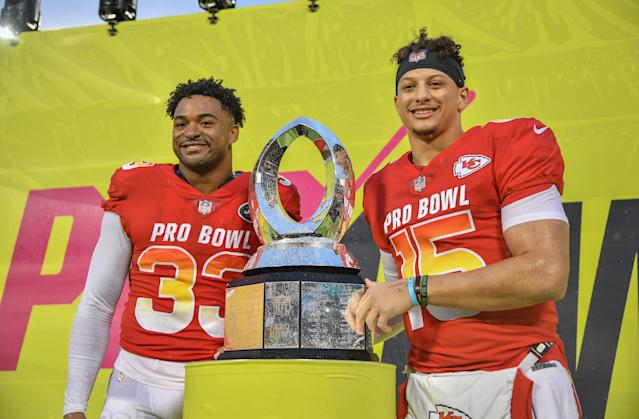 Jamal Adams and Patrick Mahomes earned MVP honors at the Pro Bowl. (Getty)