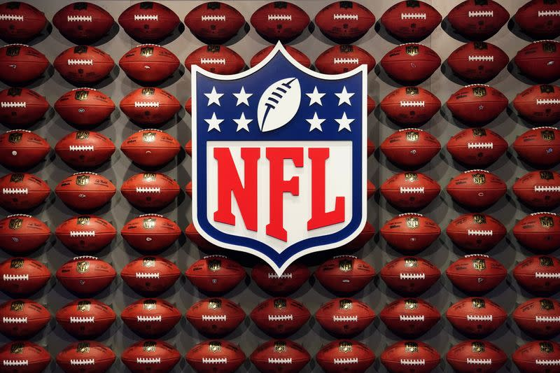 The NFL logo is pictured at an event in the Manhattan borough of New York City