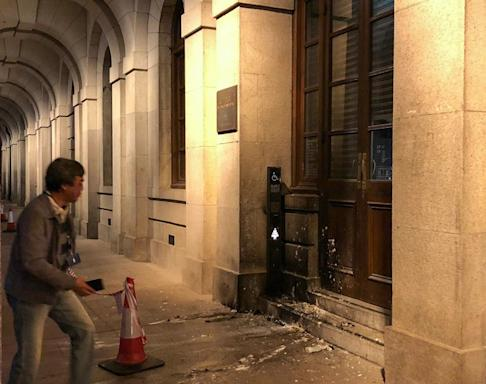 A petrol bomb was apparently hurled at the Court of Final Appeal building. Photo: Alvin Lum