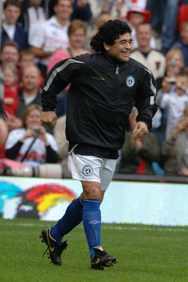 Maradona appeared in the UNICEF Soccer Aid charity match at Old Trafford in 2006