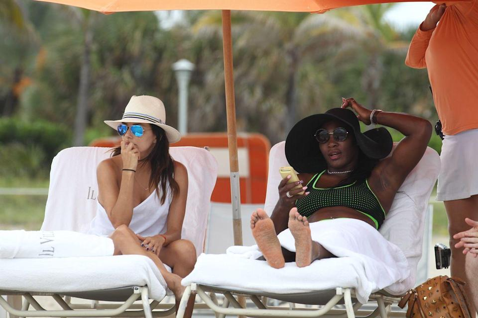 <p>Eva Longoria and Serena Williams on the beach in Miami, Florida.</p><p>Other celebrity visitors this year: Miley Cyrus, Kim Kardashian, Solange Knowles, Martha Hunt, ASAP Rocky, Jessie J, Cindy Crawford.</p>