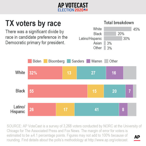 Is race a factor in the support Democratic candidates received from Texas' voters.;