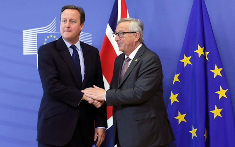 Jean-Claude Juncker, president of the European Commission, meets with David Cameron following the UK's decision to leave the European Union - Credit: EPA