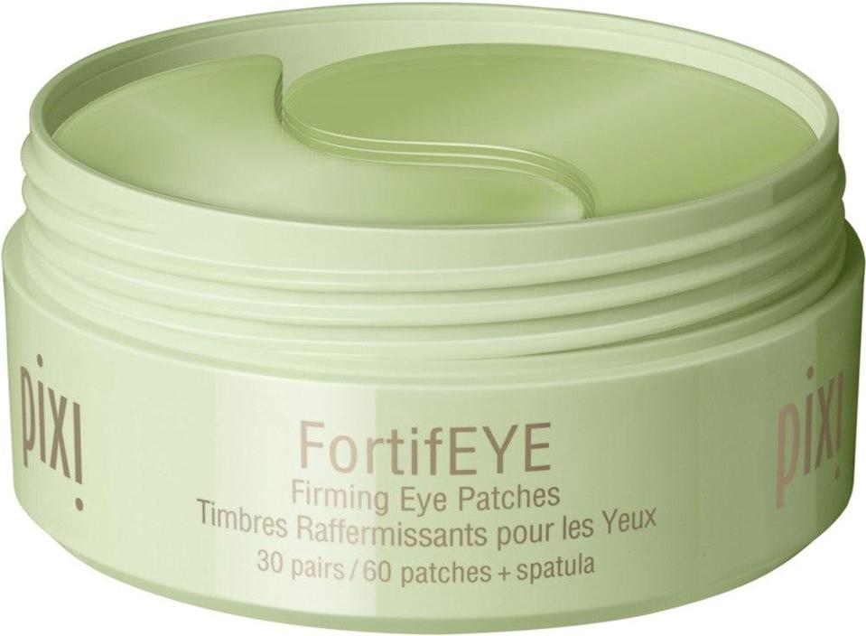 """<h2>Pixi FortifEYE Patches</h2><br>Get the most bang for your buck by investing in this jar, which contains 30 hydrogel eye patches soaked in caffeine, peptides, and collagen for only $24. Leave a set on for a few minutes while you have your morning cup of coffee and you'll be left with brighter eyes that look (and feel) well-rested.<br><br><strong>Pixi</strong> Pixi FortifEYE, $, available at <a href=""""https://go.skimresources.com/?id=30283X879131&url=https%3A%2F%2Fwww.ulta.com%2Ffortifeye%3FproductId%3Dpimprod2013443"""" rel=""""nofollow noopener"""" target=""""_blank"""" data-ylk=""""slk:Ulta Beauty"""" class=""""link rapid-noclick-resp"""">Ulta Beauty</a>"""