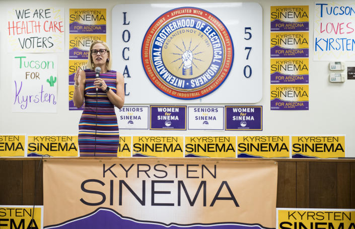 UNITED STATES - OCTOBER 21: Democratic candidate for U.S. Senate Rep. Kyrsten Sinema, D-Ariz., speaks to supporters at the International Brotherhood of Electrical Workers Local 570 in Tucson, Ariz., on Sunday, Oct. 21, 2018. (Bill Clark/CQ Roll Call via Getty Images)