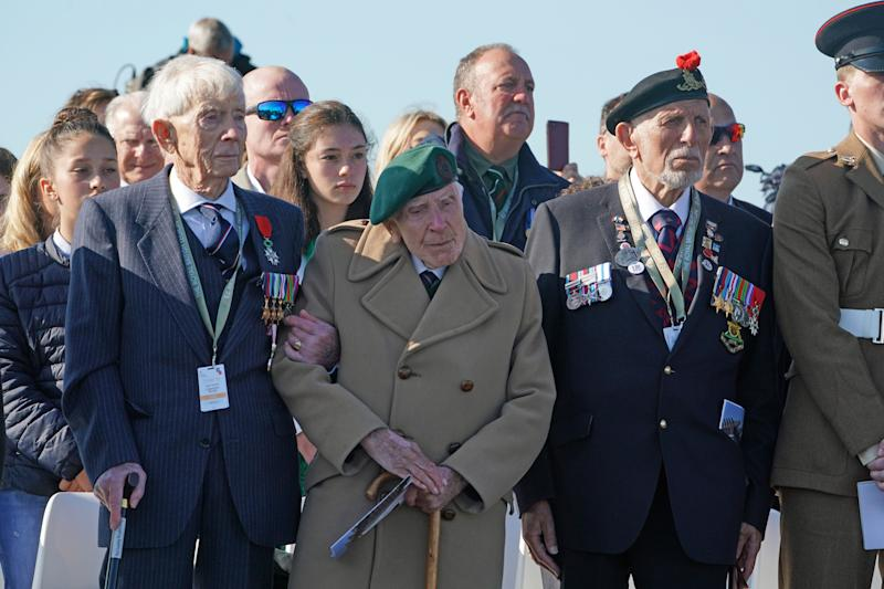 D-Day veterans at the Inauguration of the British Normandy Memorial site in Ver-sur-Mer, France, during commemorations for the 75th anniversary of the D-Day landings. PRESS ASSOCIATION Photo. Picture date: Thursday June 6, 2019. See PA story MEMORIAL DDay. Photo credit should read: Owen Humphreys/PA Wire