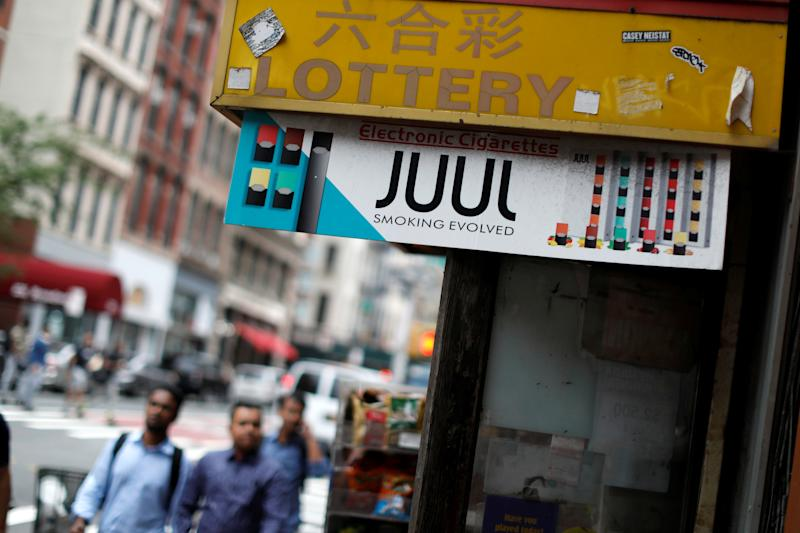 A sign advertising vaping products is seen at a shop in Manhattan in New York, U.S., September 10, 2019. REUTERS/Mike Segar
