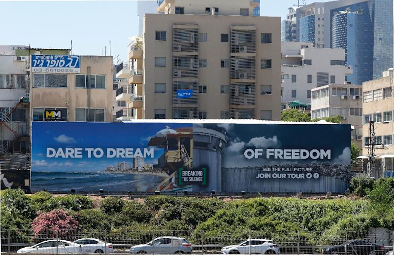 The billboard put up alongside Tel Aviv's busiest highway by an Israeli anti-occupation group is a play on the 2019 Eurovision slogan