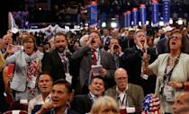 <p>Republican National Convention delegates yell and scream as the Republican National Committee Rules Committee announces that it will not hold a recorded vote on the Rules Committee's Report and rejects the efforts of anti-Trump forces to hold a roll-call vote, at the Republican National Convention in Cleveland, Ohio, U.S., July 18, 2016. (Jonathan Ernst/Reuters)</p>