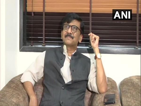 Shiv Sena leader Sanjay Raut speaking to media in Mumbai on Sunday. (Photo/ANI)