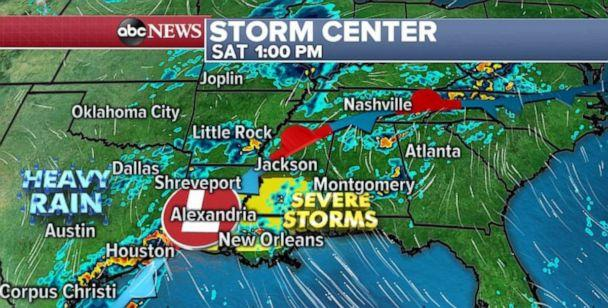 PHOTO: Severe storms are possible in Louisiana and southern Mississippi on Saturday afternoon. (ABC News)