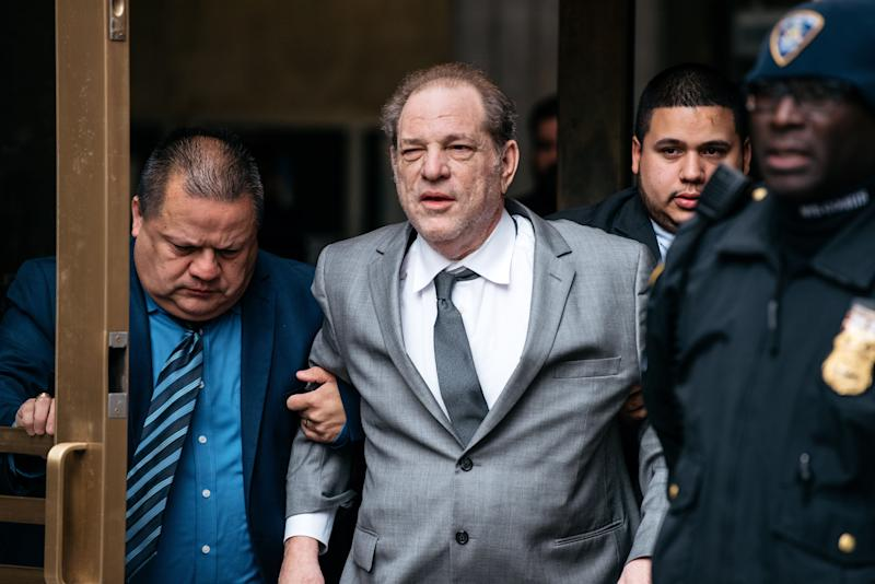 Accused rapist Harvey Weinstein, pictured after a recent bail hearing, said he deserves a pat on the back for pushing the cause of women in entertainment. (Photo: Scott Heins via Getty Images)