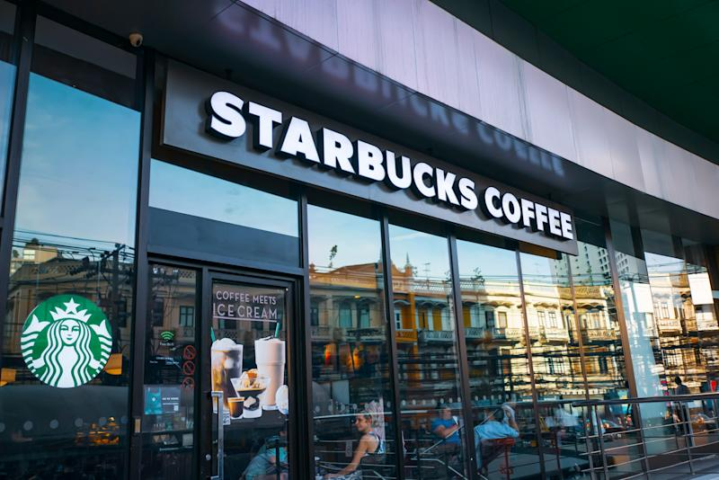 Bangkok, Thailand - July 19, 2019 : Starbucks coffee logo in front of the shop in Bangkok.