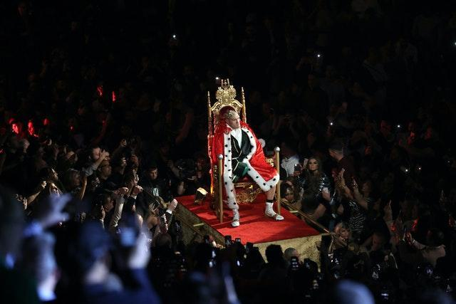Tyson Fury poses on a throne during his ring walk ahead of fighting Deontay Wilder in Las Vegas. British boxer Fury produced a stunning performance of patience and power to stop the American in the seventh round and finally win the WBC world heavyweight title. Fourteen months on from a controversial draw between the fighters, the 'Gypsy King' floored his opponent twice before Wilder's corner threw in the towel.
