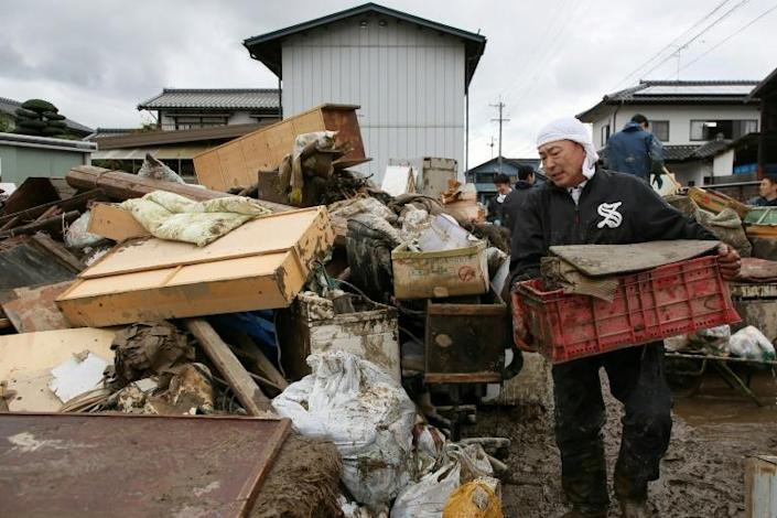 Cleanup and rescue efforts continued in Japan three days after deadly Typhoon Hagibis slammed into the country (AFP Photo/STR)