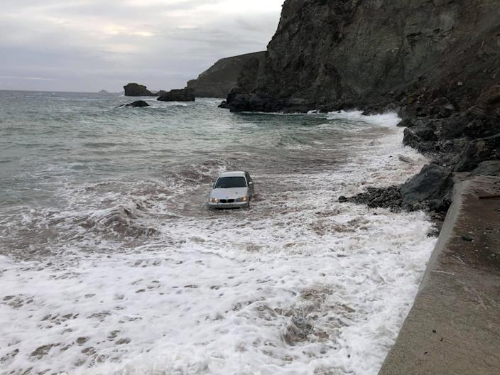 Local resident Esther Chase took pictures of the scene and said it was in the sea being tossed about by waves. (SWNS)