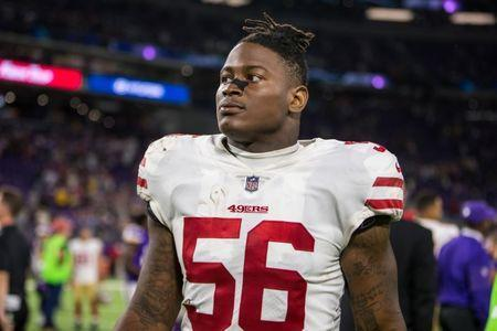 Aug 27, 2017; Minneapolis, MN, USA; San Francisco 49ers linebacker Reuben Foster (56) looks on following the game against the Minnesota Vikings at U.S. Bank Stadium. Mandatory Credit: Brace Hemmelgarn-USA TODAY Sports