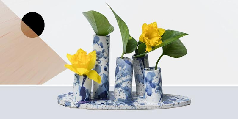 "We love single-flower arrangements, but you need a bunch to make any real impact on your table. Enter this splattered number, which is essentially five bud vases in one. SHOP NOW: Watercolor Vase by Marian Bull, 10""w x 5""h, $72, marianbull.bigcartel.com"