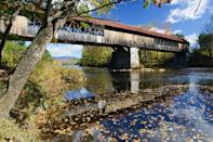 """<p>At 292 feet long, New Hampshire's rustic <a href=""""http://www.nhtourguide.com/covered_bridges/blair_bridge_campton_nh.htm"""" rel=""""nofollow noopener"""" target=""""_blank"""" data-ylk=""""slk:Blair Covered Bridge"""" class=""""link rapid-noclick-resp"""">Blair Covered Bridge</a> is the second longest in the state. The original bridge, which was built in 1829, burned down before the current bridge was constructed in 1869. Although it's been weathered and worn by travelers and hurricanes, the state of New Hampshire and the town of Campton continue to put in the effort to <a href=""""http://www.wmur.com/escape-outside/historic-blair-bridge-now-open-after-restoration/26860766"""" rel=""""nofollow noopener"""" target=""""_blank"""" data-ylk=""""slk:restore this historic site"""" class=""""link rapid-noclick-resp"""">restore this historic site</a>.</p>"""