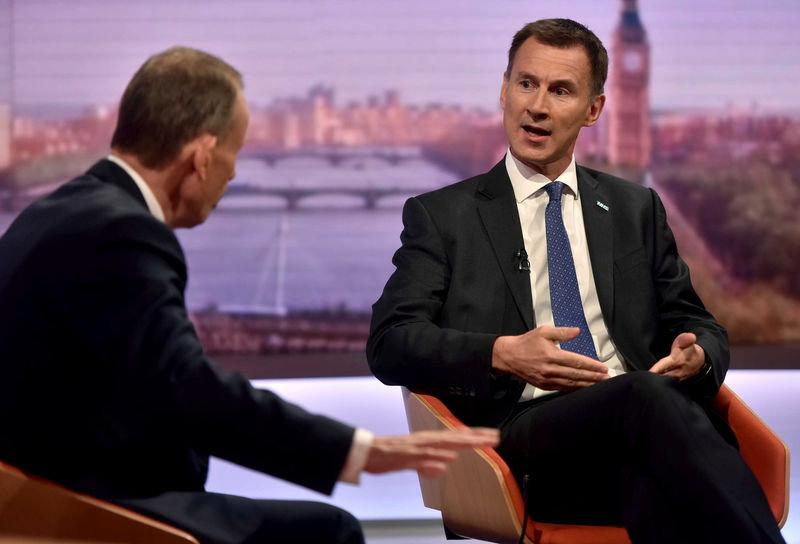 Britain's Health Secretary Hunt speaks on the BBC's Marr Show in London