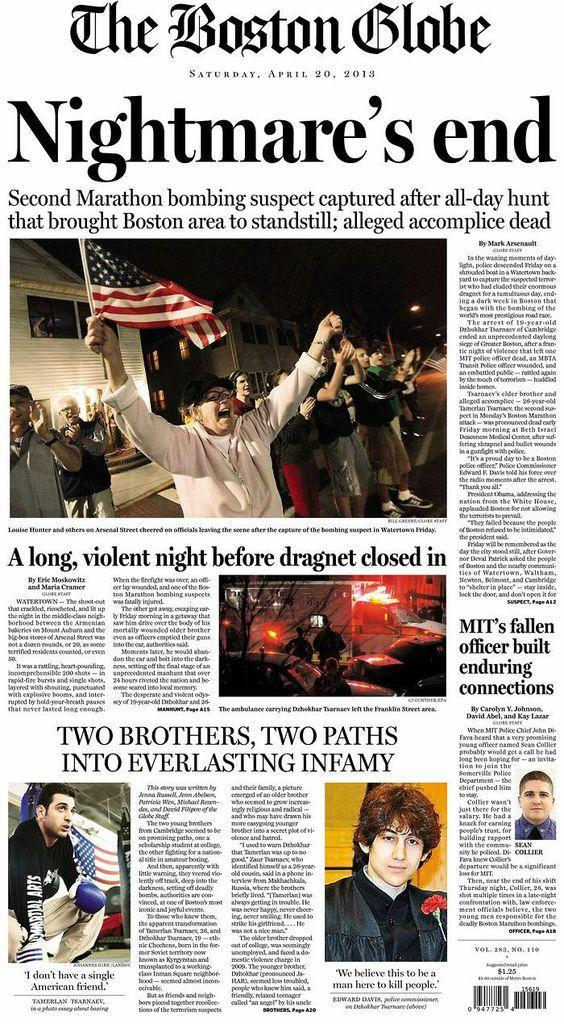 """Nightmare's end."" Boston Globe, April 20, 2013."