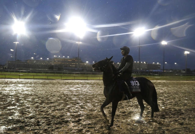 An exercise rider rides Pocket Dynamo during morning workouts before the Breeders Cup horse races at Churchill Downs, Thursday, Nov. 1, 2018, in Louisville, Ky. (AP Photo/Darron Cummings)