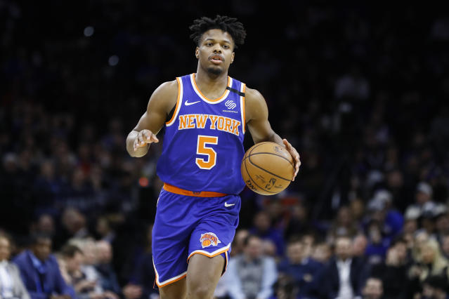 New York Knicks' Dennis Smith Jr. plays during an NBA basketball game against the Philadelphia 76ers, Thursday, Feb. 27, 2020, in Philadelphia. (AP Photo/Matt Slocum)