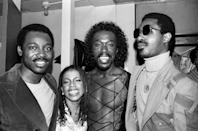 <p>George Benson, Valerie Simpson, and Nickolas Ashford of Ashford & Simpson pose backstage with Stevie Wonder in New York cicra 1978.</p>