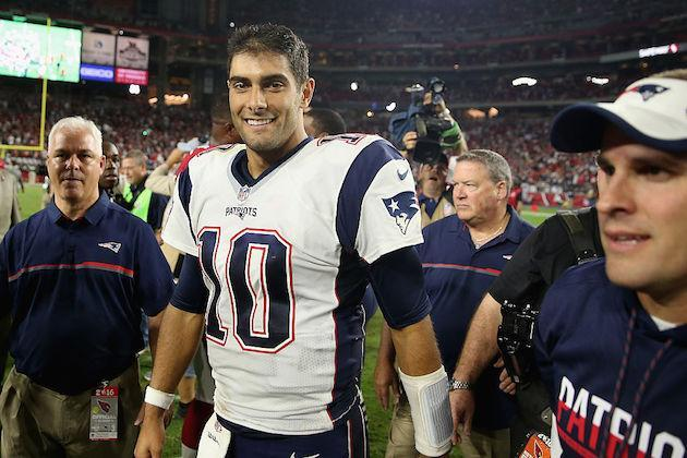 Jimmy Garoppolo will have investors grinning from ear to ear this week. (Getty)