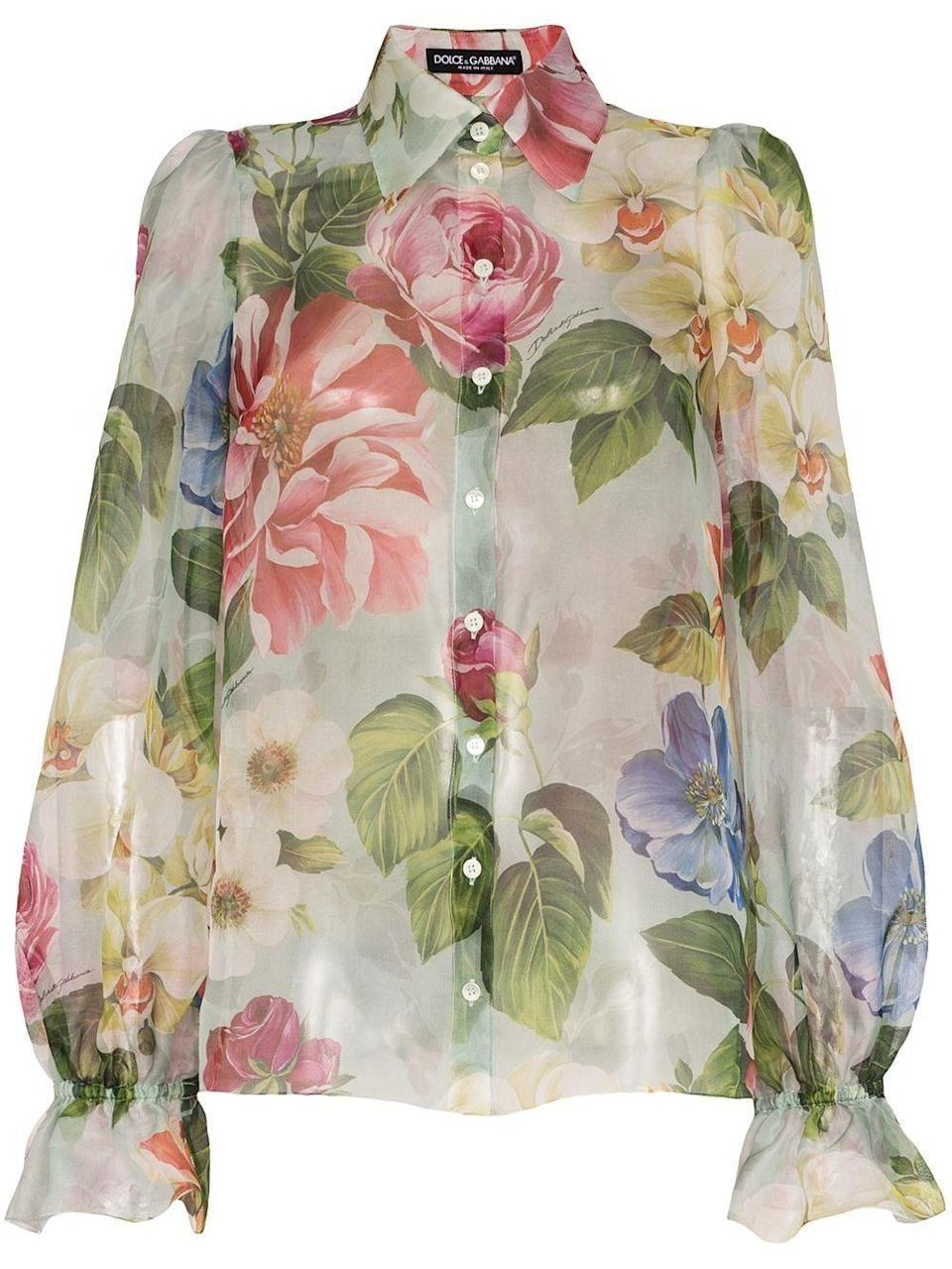 """<p><strong>Dolce & Gabbana</strong></p><p>nordstrom.com</p><p><strong>$458.00</strong></p><p><a href=""""https://go.redirectingat.com?id=74968X1596630&url=https%3A%2F%2Fshop.nordstrom.com%2Fs%2Fdolcegabbana-floral-print-balloon-sleeve-silk-organza-blouse%2F5512060&sref=https%3A%2F%2Fwww.marieclaire.com%2Ffashion%2Fg33324123%2Fsilk-printed-shirts%2F"""" rel=""""nofollow noopener"""" target=""""_blank"""" data-ylk=""""slk:Shop It"""" class=""""link rapid-noclick-resp"""">Shop It</a></p><p>This lightweight silk blouse will compliment a pencil skirt, tucked in, with a hardware or <a href=""""https://www.marieclaire.com/fashion/a32971079/best-designer-belts-for-women/"""" rel=""""nofollow noopener"""" target=""""_blank"""" data-ylk=""""slk:logo belt"""" class=""""link rapid-noclick-resp"""">logo belt</a>. For days off, style it with a bralette and boyfriend jeans.</p>"""