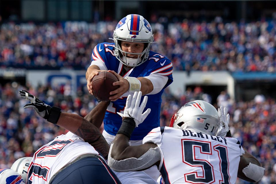Sep 29, 2019; Orchard Park, NY, USA; Buffalo Bills quarterback Josh Allen (17) runs the ball in for a touchdown during the third quarter against the New England Patriots at New Era Field. Mandatory Credit: Douglas DeFelice-USA TODAY Sports