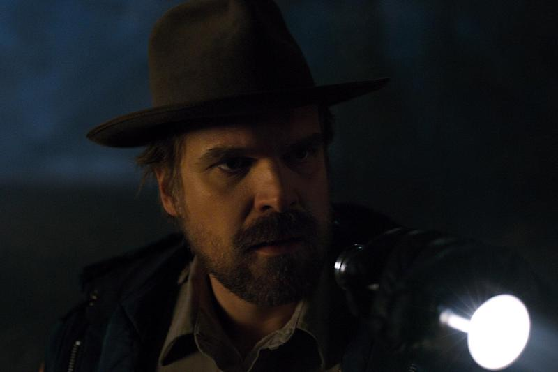 Harbour as Jim Hopper in Stranger Things S2 (Netflix)
