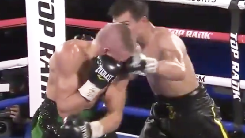 Jose Zepeda is pictured landing the punch which knocked out Ivan Baranchyk.